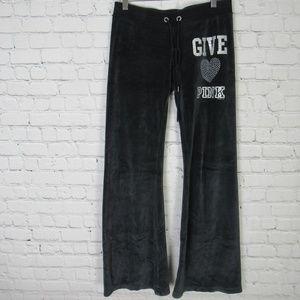 Victorias Secret Pink Pants Womens XS Black Velour